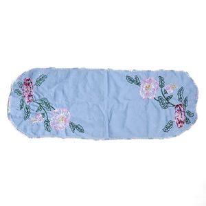 """Vintage Floral Embroidered Blue Table Runner Doily Multicolor Handmade 36"""" × 13"""""""